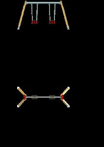 Vistas alzado y planta - Columpio 2 asientos de seguridad - MP-035-5C