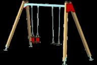 Columpio 1 asiento plano, uno de seguridad - Línea Basic - Juegos Infantiles - Productos - Maderplay